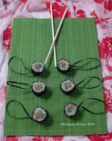 Salmon Roll Maki Glitter Sushi Ornaments 2 by MorganCrone