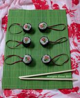 Tuna Roll Maki Glitter Sushi Ornaments by MorganCrone