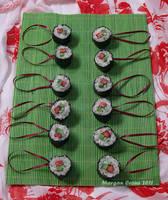 Tuna Roll Maki Glitter Sushi Ornaments 2 by MorganCrone