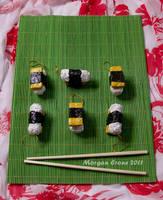 Tamago Nigiri Glitter Sushi Ornaments 2 by MorganCrone