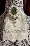 Ivory and Blue Velvet Jabot Collar with Brooch pin by MorganCrone