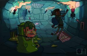 SUPERQUEST Adventuregame art- Slimy Dungeon by RobinKeijzer
