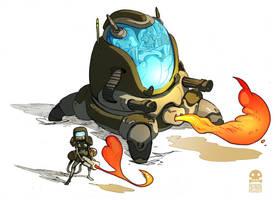 Flamethrower P.I.G. army special unit by RobinKeijzer