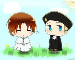 Chibitalia and Holy Roman Empire by L-ychee