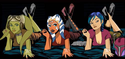 Hera Ahsoka Sabine sleepover Star Wars Rebels by Brandtk