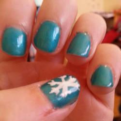 Gel Nail Art- Snowflake Blue by Luna-child