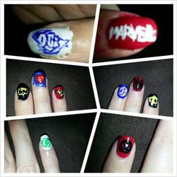 Marvel Vs DC Nails by Luna-child
