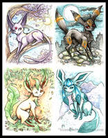 Eevee + 'eons paintings 5-8 by IceandSnow