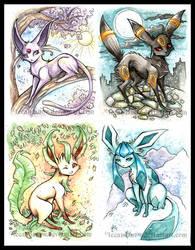 Eevee + 'eons paintings 5-8 by IceandSnow