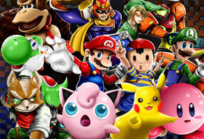 Super Smash Bros 64 roster by FaustDarkSoul