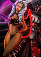 Ashoka  and Darth Vader Commission by FaustDarkSoul
