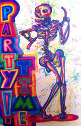 party time skeleton by KittyDarklore
