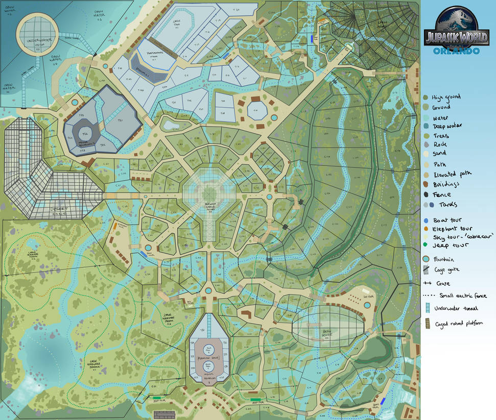 Jurassic World Orlando Map by JoshuaDunlop on DeviantArt