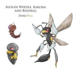 Alolan Weedle, Kakuna and Beedrill by JoshuaDunlop