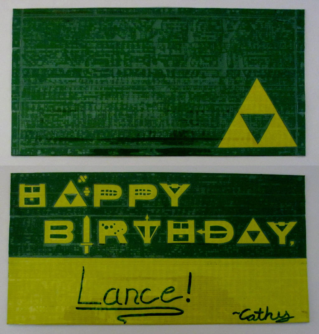 The Legend Of Zelda Duct Tape Birthday Card By TsukiCraft