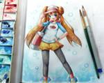 Pokemon Rosa watercolor sketch by emperpep