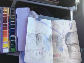 In Flight (w/ watercolour) by Just-a-Bud