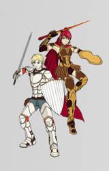 Jaune Arc and Pyrrha Nikos - Armored Attire (NWIP) by ACGearmaker