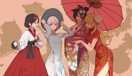 Asian dresses by dishwasher1910