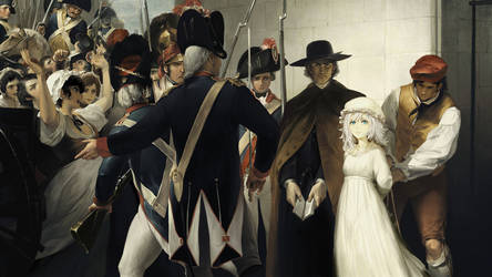 Marie Antoinette being taken to her execution by dishwasher1910