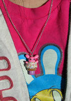 Bunnie Cupcake Necklace by xlilbabydragonx