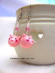 pink piggie earrings by xlilbabydragonx