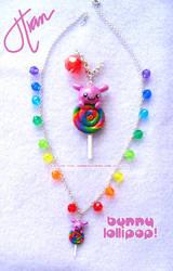 Rainbow Swirl Bunny Necklace by xlilbabydragonx