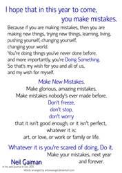 Make New Mistakes - NeilGaiman Motivational Poster by antoniavogel