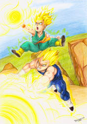 Vegeta  and Trunks by kati-kopa