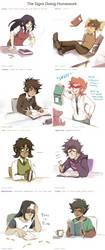 The Signs Doing Homework by ikimaru-art