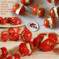 1/12th scale Cherry Tomato/Mozzarella/Pesto bites by ElreniaGreenleaf