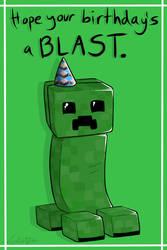 Creeper Birthday Card by Lucieniibi