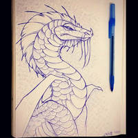 Blue Pen Dragon by Lucieniibi