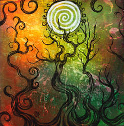Spiral Sun Forest by zyphryus