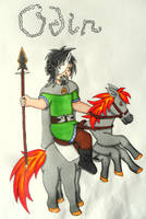 Odin and Sleipnir by Iglybo