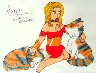 Freyja with her cats by Iglybo