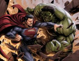 Superman vs Hulk by SamDelaTorre