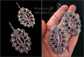 Made of stars - violet earrings by Faeriedivine