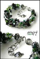 Darkgreen cobweb bracelet by Faeriedivine