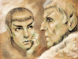 New Spock and Spock Prime by tafafa