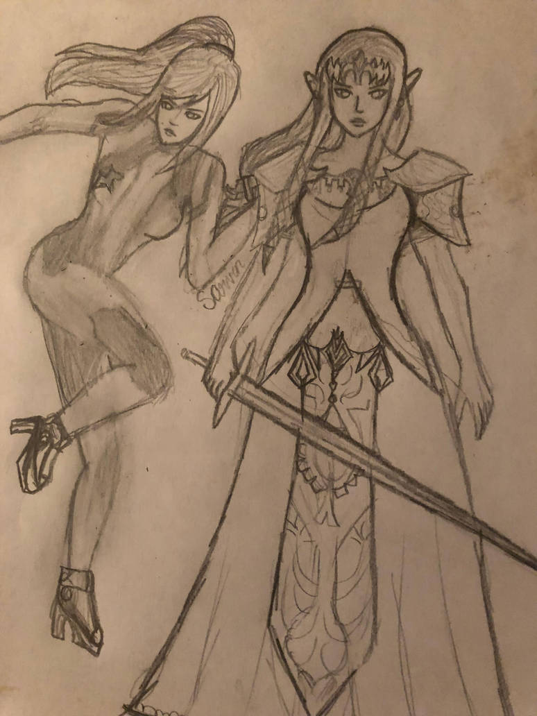 Samus And Zelda by UniPitDraws