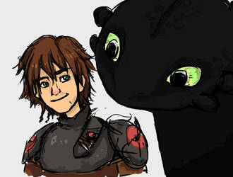 Hiccup and Toothless by Fededeko