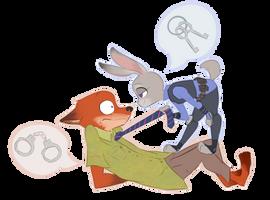 Sly Bunny, Dumb Fox by atenahena