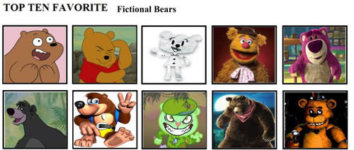 Top Ten Favorite Fictional Bears by mlp-vs-capcom
