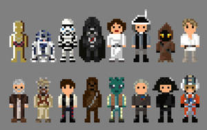 Star Wars A New Hope Characters 8 bit by LustriousCharming