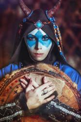Blue shaman portrait by elenasamko