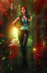 Triss Merigold in Cyberpunk 2077 cosplay by elenasamko