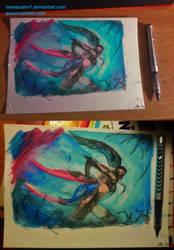 Headhunter Akali - Watercolour + Ink by InweAcaim7