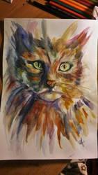 Watercolour Cat by InweAcaim7