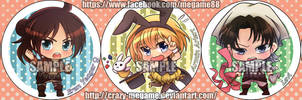 Attack on Titan special badge - chibi set by Crazy-megame